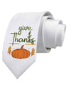 Give Thanks Printed White Neck Tie Tooloud