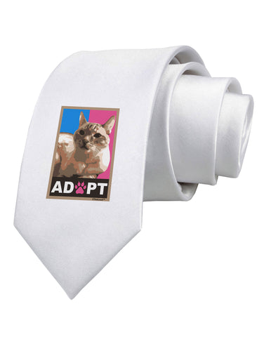 Adopt Cute Kitty Poster Printed White Neck Tie