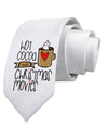 Hot Cocoa and Christmas Movies Printed White Neck Tie Tooloud