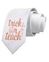 Trick or Teach Printed White Neck Tie Tooloud