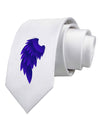 Single Left Dark Angel Wing Design - Couples Printed White Necktie
