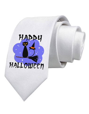 TooLoud Witch Cat Printed White Neck Tie