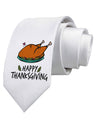 Happy Thanksgiving Printed White Neck Tie Tooloud