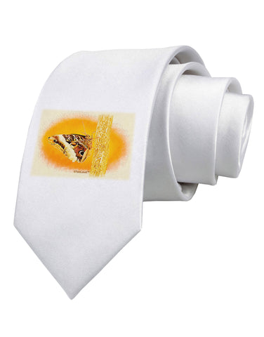 TooLoud Watercolor Owl Moth Printed White Neck Tie