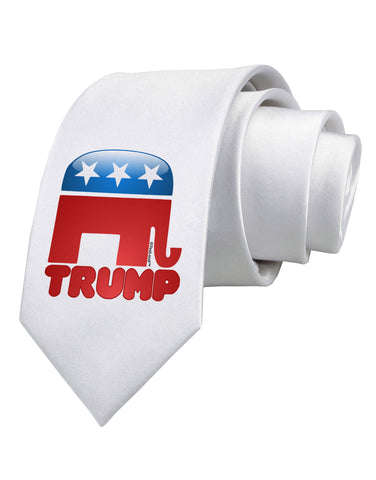 TooLoud Trump Bubble Symbol Printed White Neck Tie