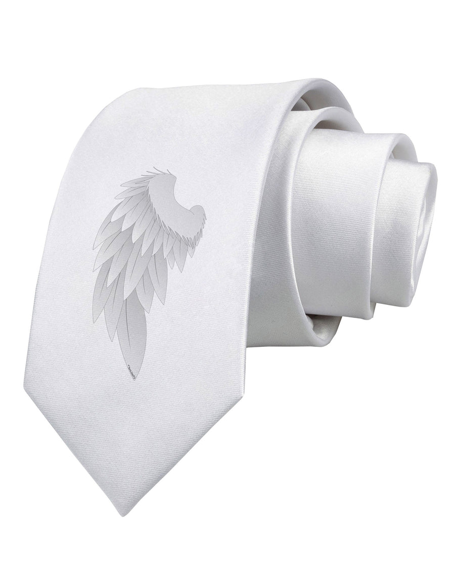 Single Left Angel Wing Design - Couples Printed White Necktie