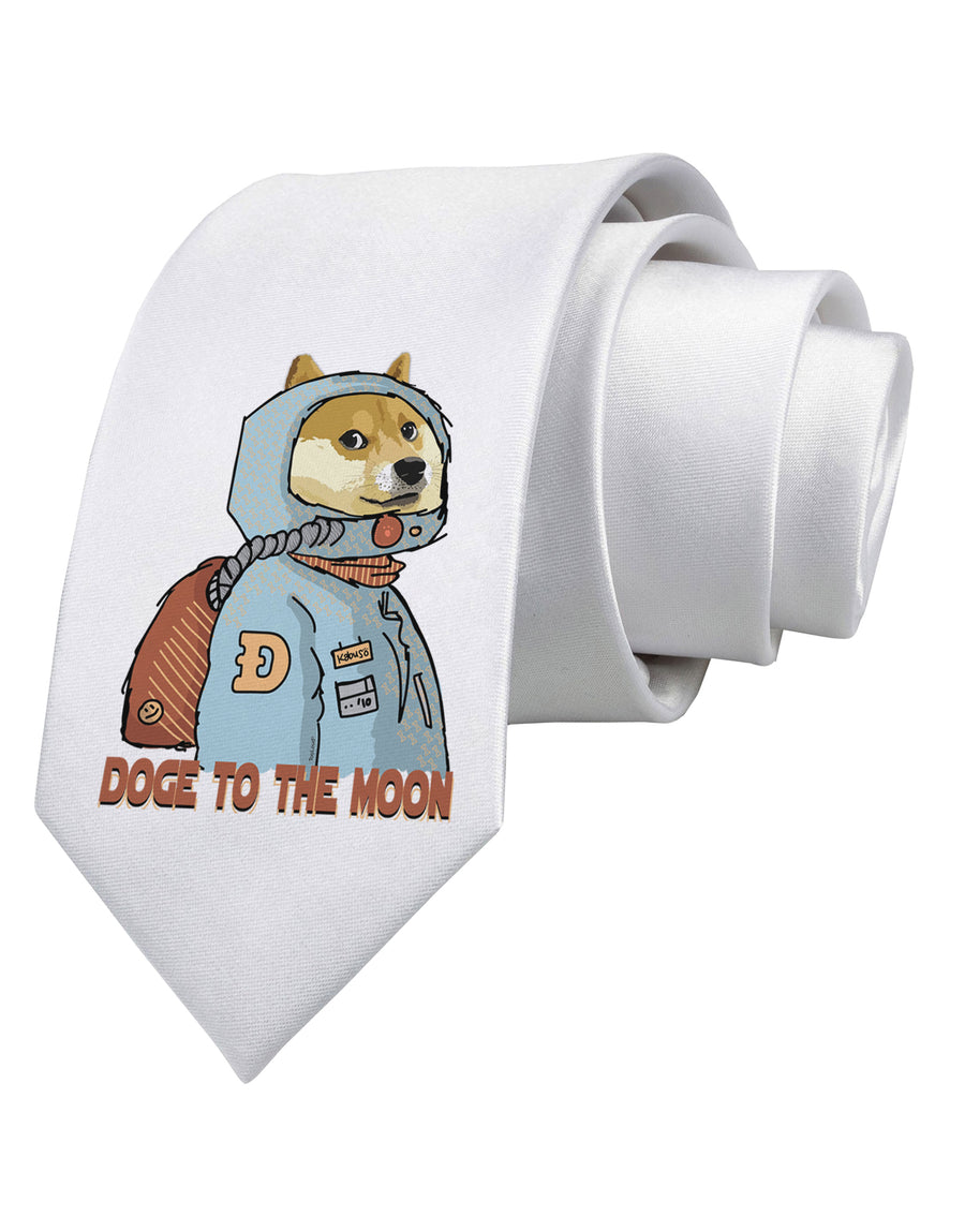 Doge to the Moon Printed White Neck Tie Tooloud