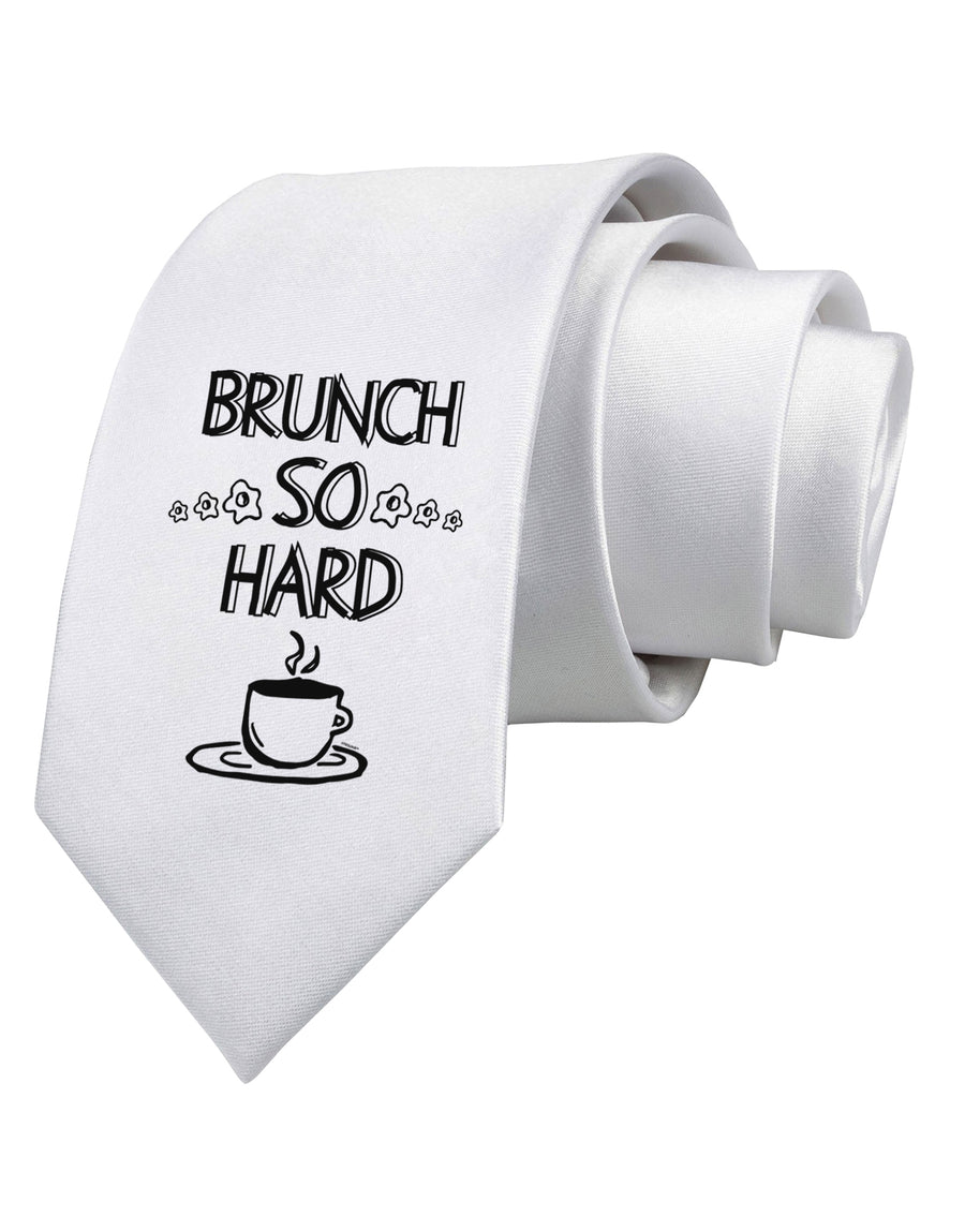 Brunch So Hard Eggs and Coffee Printed White Neck Tie Tooloud