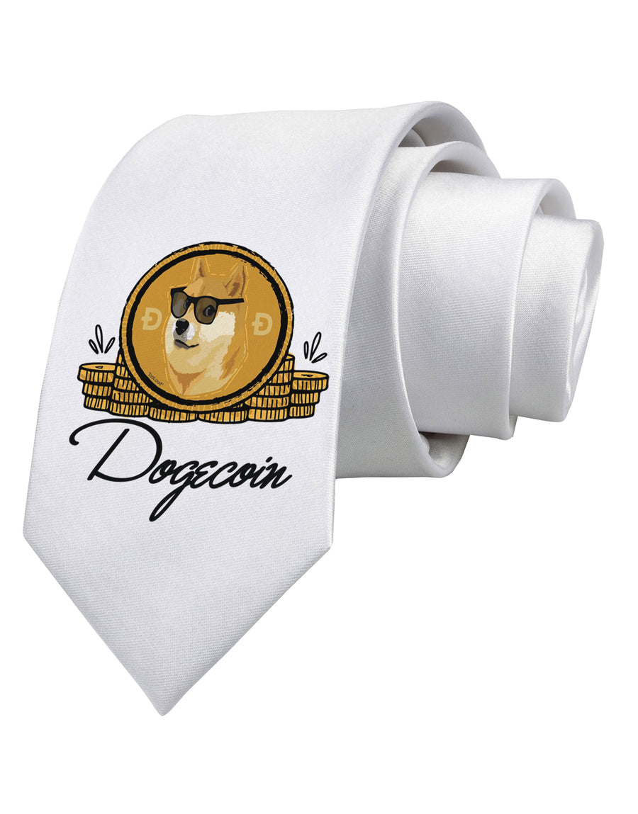 Doge Coins Printed White Neck Tie Tooloud