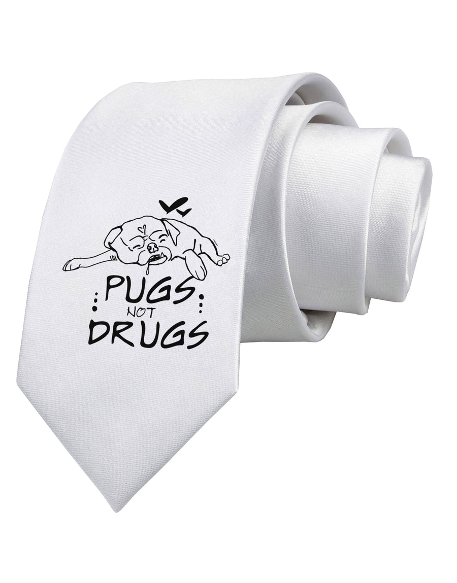 Pugs Not Drugs Printed White Neck Tie Tooloud