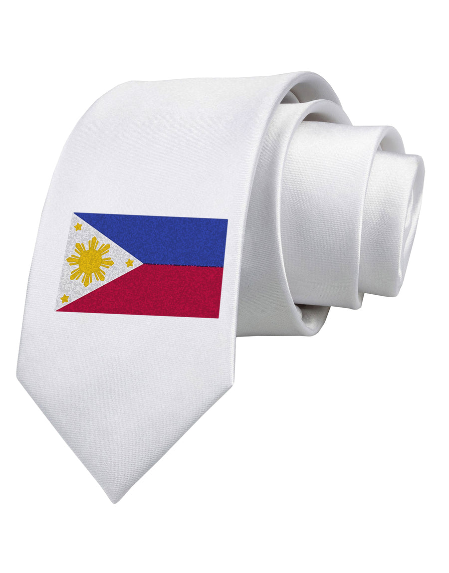 Distressed Philippines Flag Printed White Neck Tie Tooloud