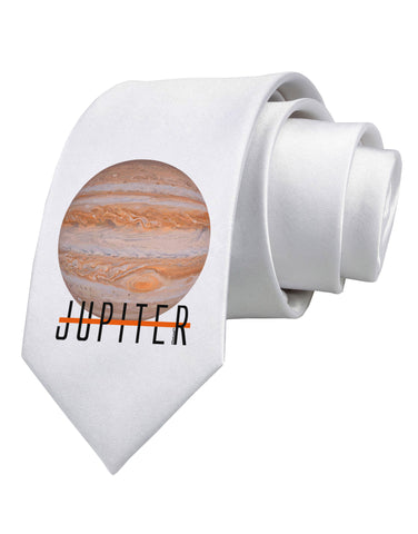 Planet Jupiter Earth Text Printed White Neck Tie