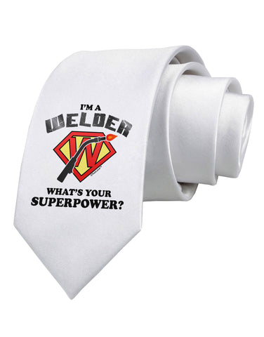 TooLoud Welder - Superpower Printed White Neck Tie