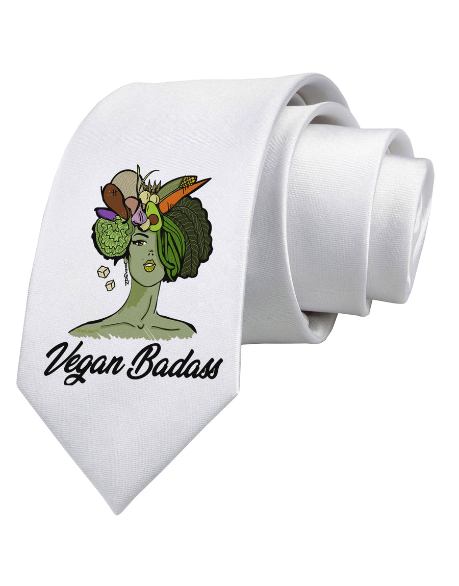 Vegan Badass  Printed White Neck Tie Tooloud