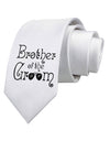Brother of the Groom Printed White Neck Tie Tooloud