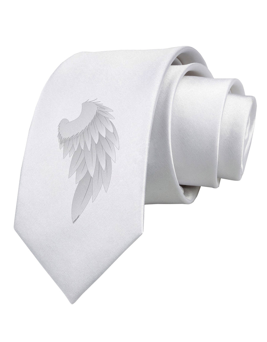 Single Right Angel Wing Design - Couples Printed White Necktie