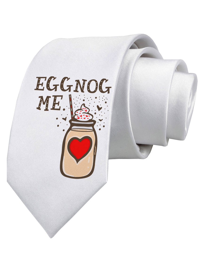 Eggnog Me Printed White Neck Tie Tooloud