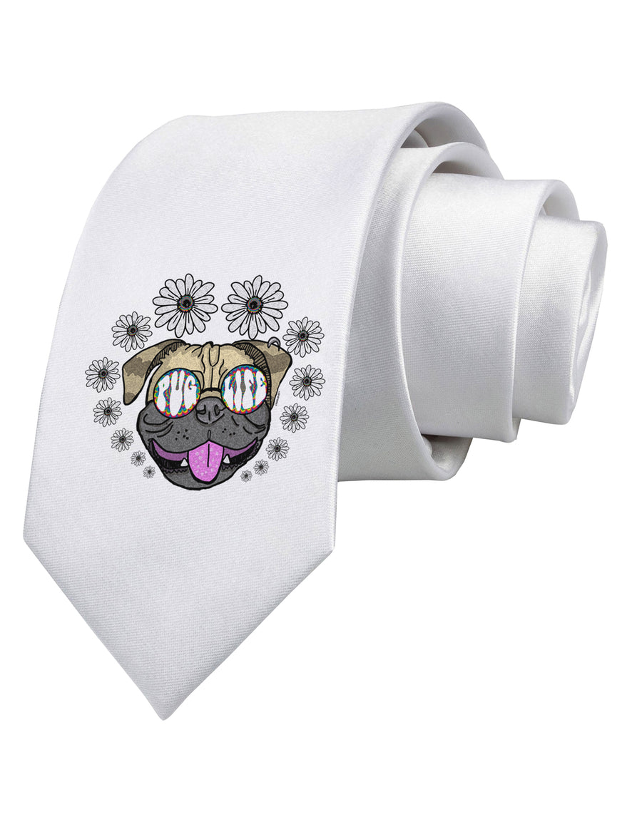 Pug Life Hippy Printed White Neck Tie Tooloud