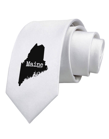 Maine - United States Shape Printed White Necktie by TooLoud