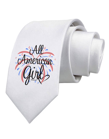 All American Girl - Fireworks and Heart Printed White Neck Tie by TooLoud