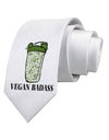 Vegan Badass Bottle Print Printed White Neck Tie Tooloud