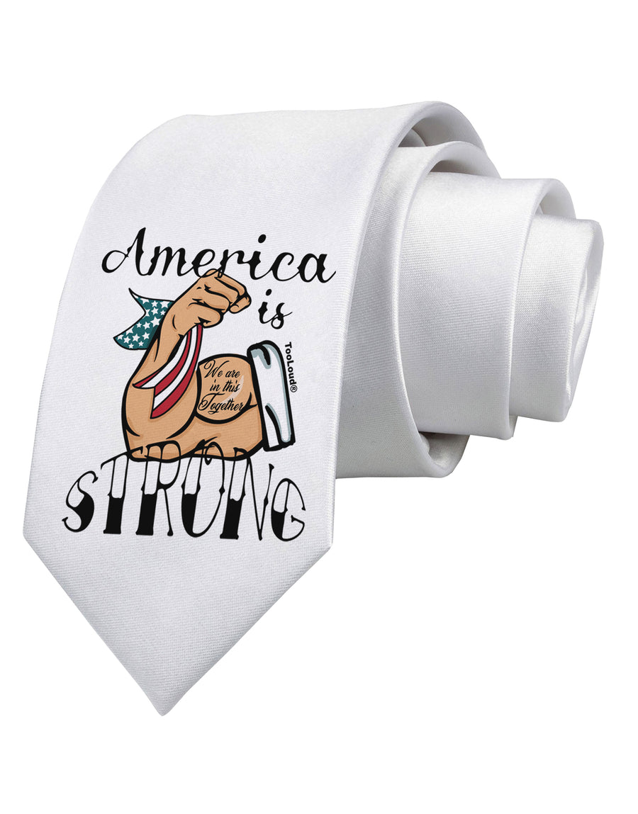 America is Strong We will Overcome This Printed White Neck Tie Tooloud