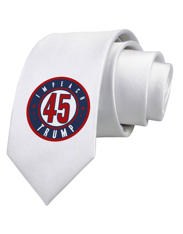 Impeach Trump Printed White Necktie by TooLoud