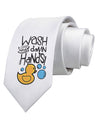 Wash your Damn Hands Printed White Neck Tie Tooloud