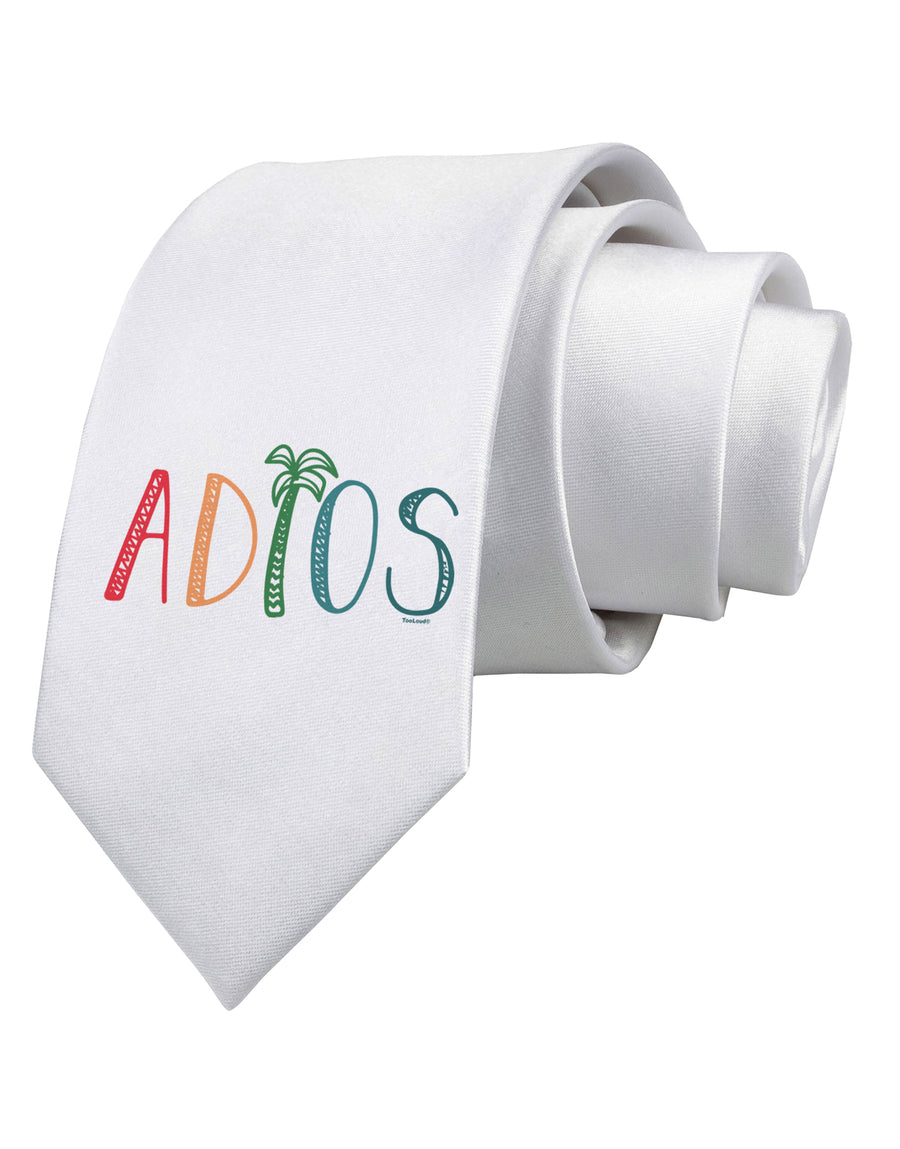 Adios Printed White Neck Tie Tooloud