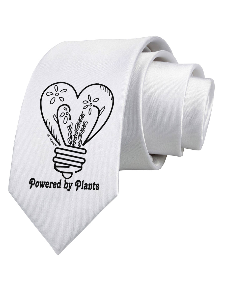 Powered by Plants Printed White Neck Tie Tooloud
