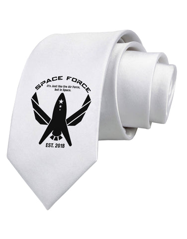Space Force Funny Anti Trump Printed White Necktie by TooLoud