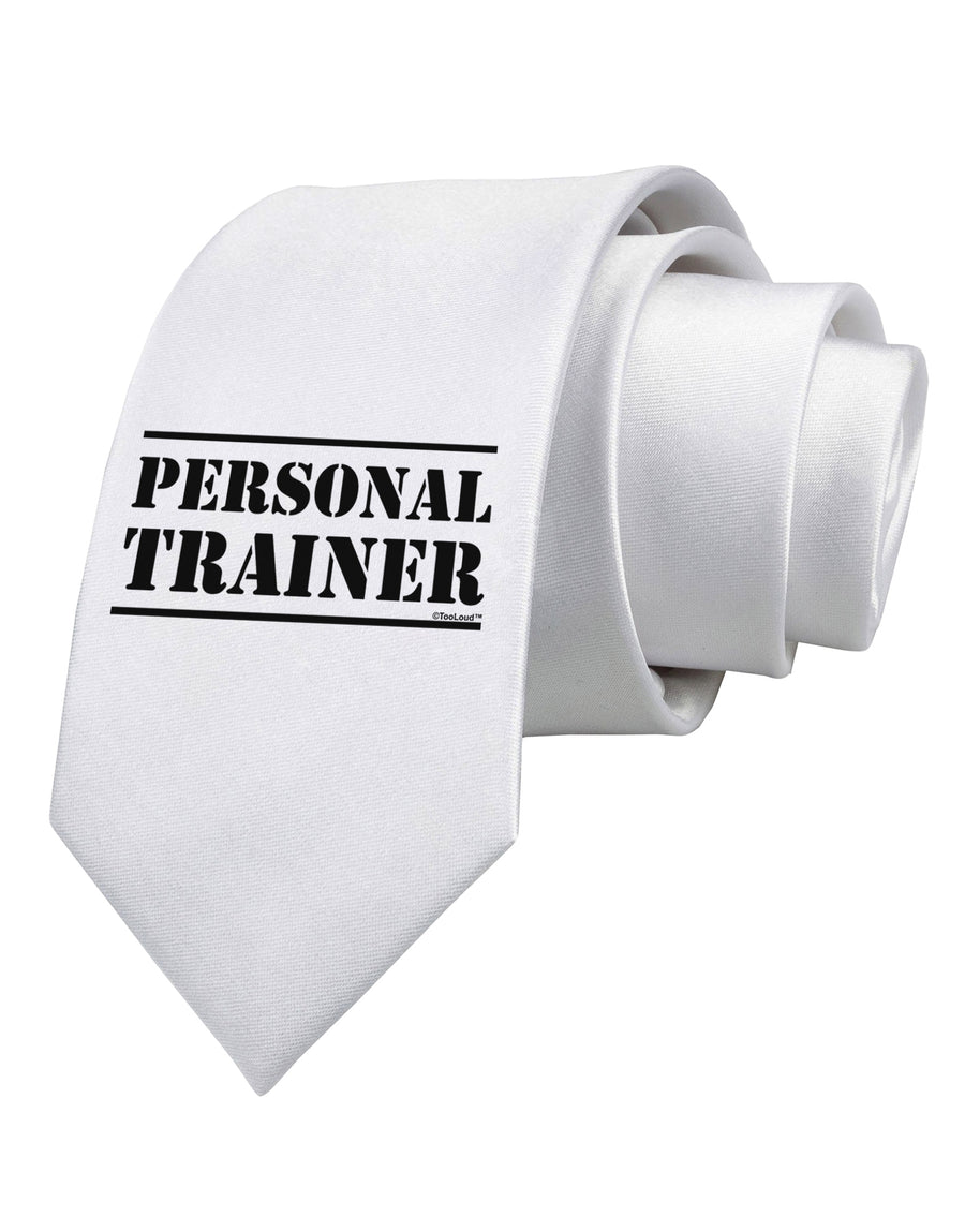 Personal Trainer Military Text  Printed White Neck Tie Tooloud