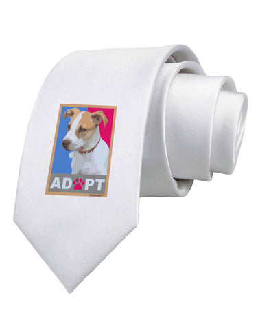 Adopt Cute Puppy Poster Printed White Neck Tie