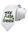 One Lucky Grandma Shamrock Printed White Neck Tie Tooloud