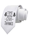 Time to Give Thanks Printed White Neck Tie Tooloud