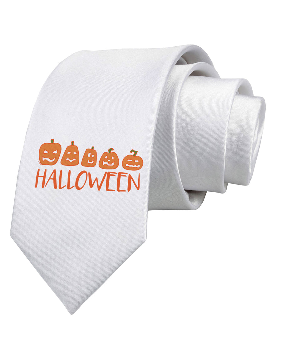 Halloween Pumpkins Printed White Neck Tie Tooloud