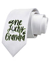 One Lucky Grandpa Shamrock Printed White Neck Tie Tooloud