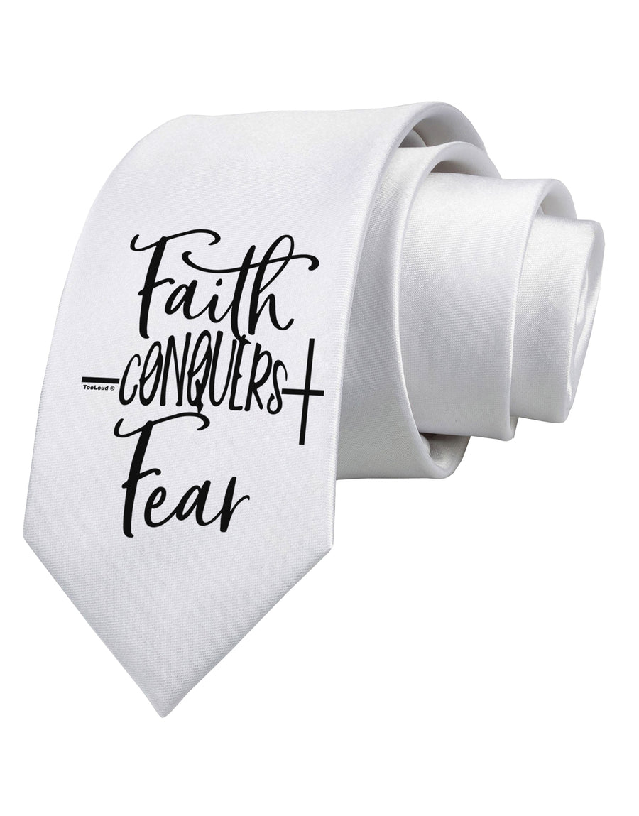 Faith Conquers Fear Printed White Neck Tie Tooloud