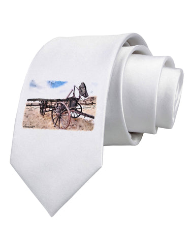 Antique Vehicle Printed White Necktie