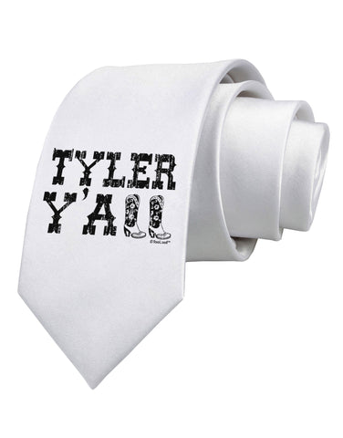 TooLoud Tyler Y'all - Southwestern Style Printed White Neck Tie