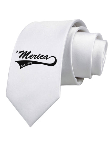 Merica Established 1776 Printed White Neck Tie by TooLoud