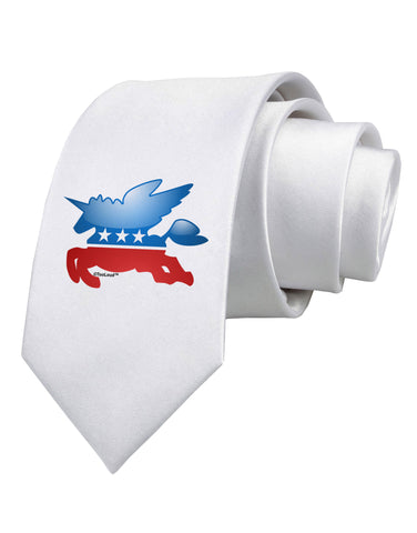 TooLoud Unicorn Political Symbol Printed White Neck Tie