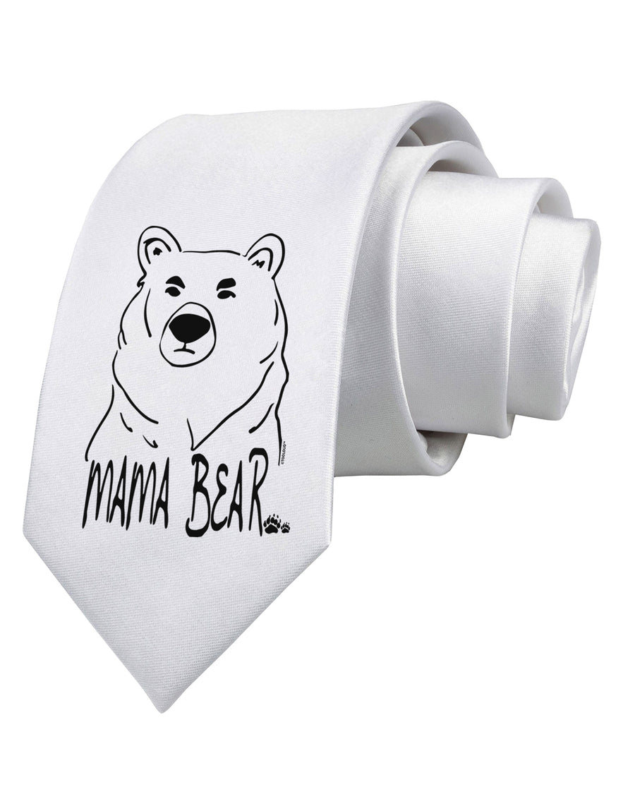 Mama Bear Printed White Neck Tie Tooloud