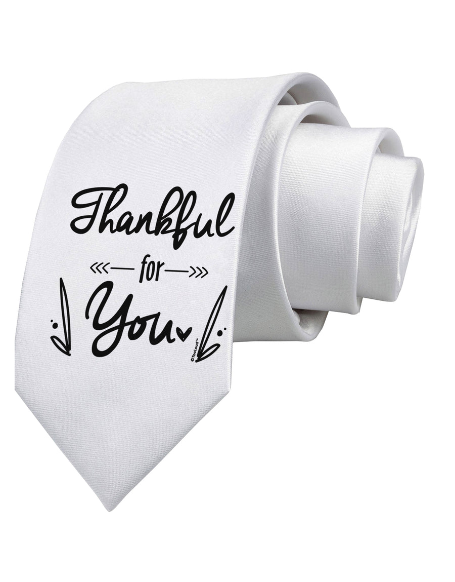 Thankful for you Printed White Neck Tie Tooloud