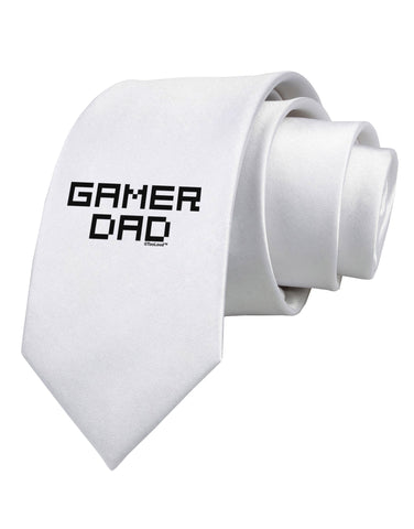 Gamer Dad Printed White Necktie by TooLoud