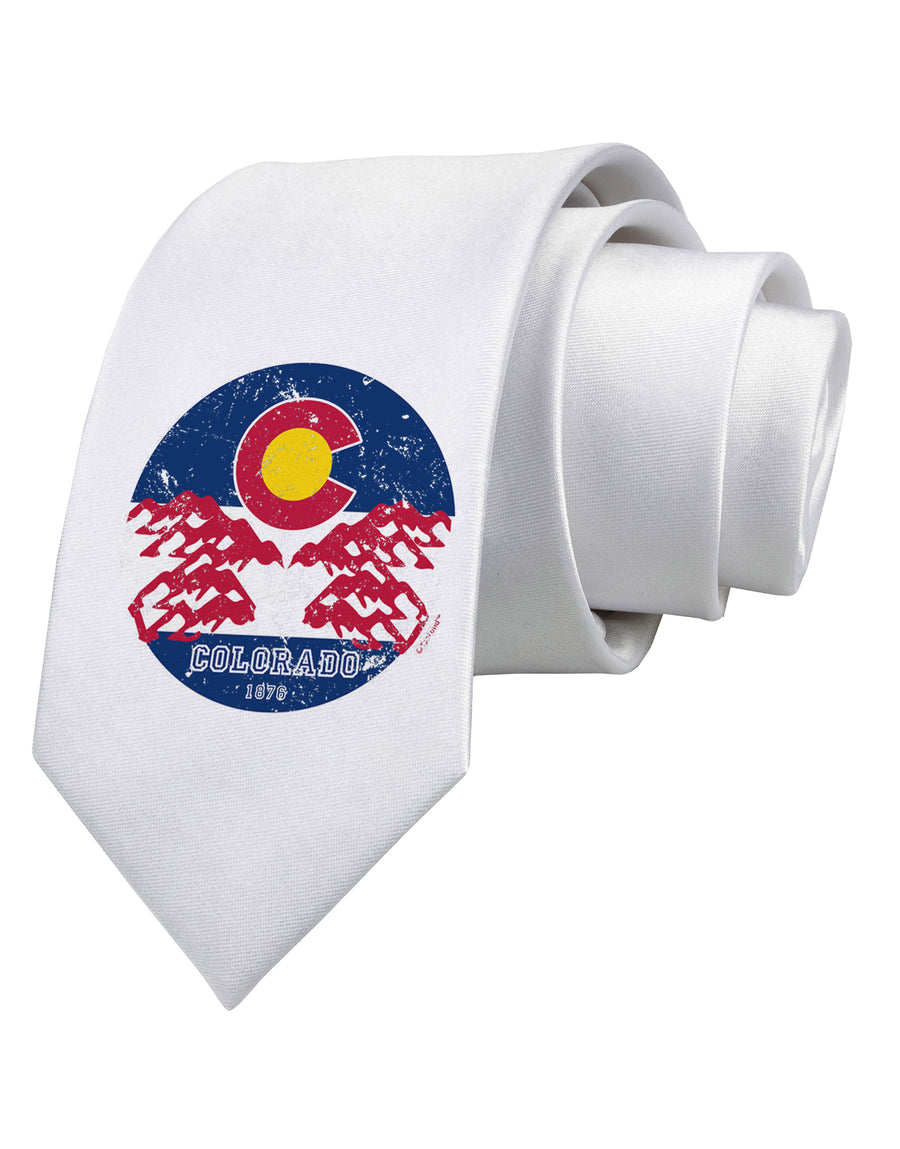 Grunge Colorado Emblem Flag Printed White Neck Tie Tooloud