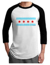 Distressed Chicago Flag Design Adult Raglan Shirt by TooLoud