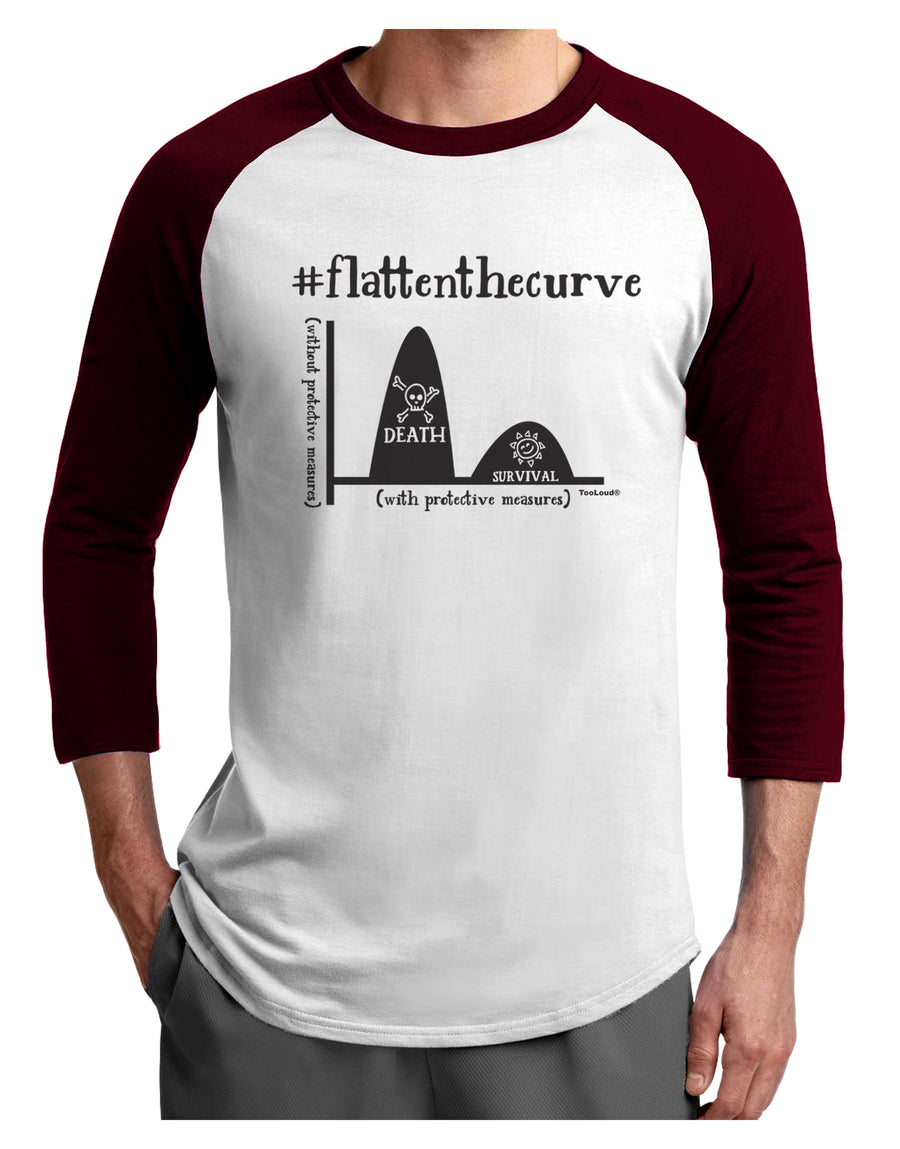 Flatten the Curve Graph Adult Raglan Shirt White Black 3XL Tooloud