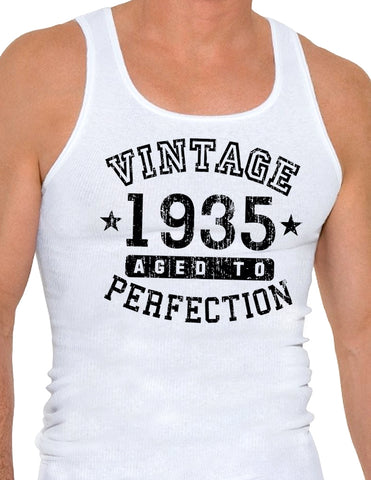 1935 - Vintage Birth Year Mens Ribbed Tank Top Brand