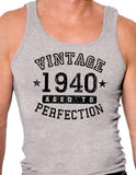 1940 - Vintage Birth Year Mens Ribbed Tank Top Brand